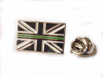 Thin Green Line Lapel Badge Union Jack Ambulance Service Mourning Band